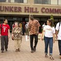 Students walking on the campus :: Bunker Hill Community College