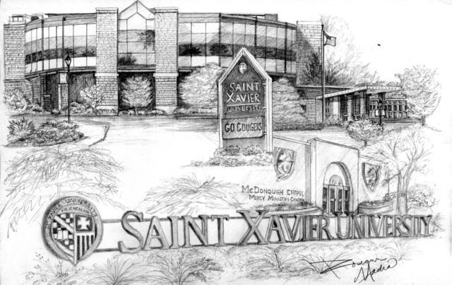Xavier Campus, Drawing By Roseann Madia :: Saint Xavier University