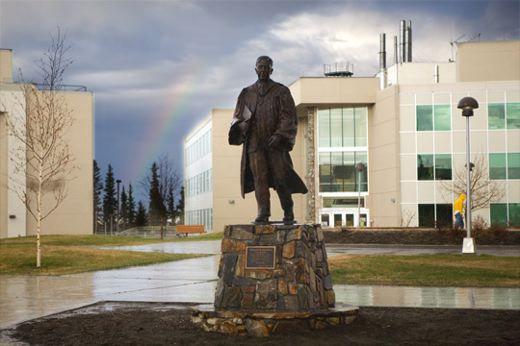 Statue of Charles Bunnel on the Campus :: University of Alaska Fairbanks